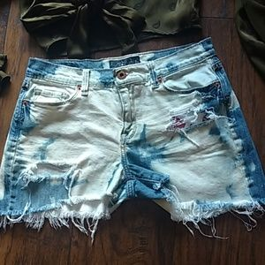 Lucky Brand bleached distressed denim shorts